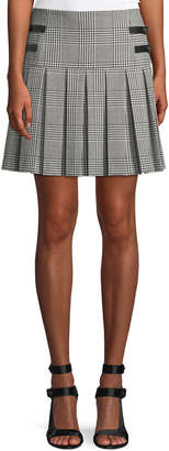 Alice + Olivia Emilie Pleated Check Short Skirt w/ Leather Buckles