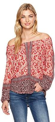 Lucky Brand Women's Placed Peasant Top