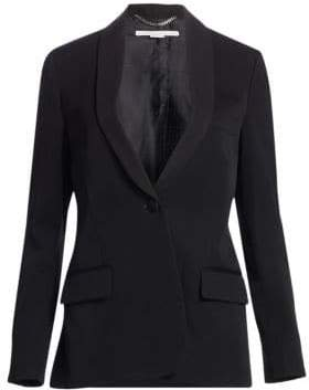 Stella McCartney Grosgrain Tie One-Button Wool Blazer