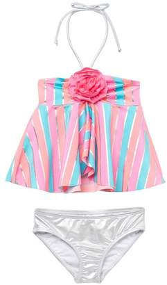 Love U Lots Multi Stripe Tankini Two-Piece Swimsuit (Toddler Girls & Little Girls)