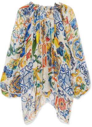 Dolce & Gabbana Printed Silk-chiffon Blouse - Blue