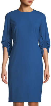 Lafayette 148 New York Erland Ruched-Sleeve Sheath Dress, Blue