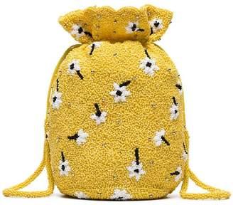 Ganni yellow Siltstone floral bead embellished bracelet bag