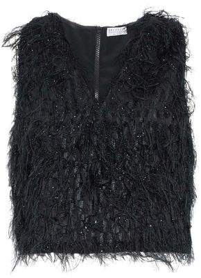 Brunello Cucinelli Cropped Feather-Embellished Metallic Organza Top