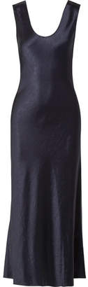 Draped Hammered-satin Midi Dress - Midnight blue