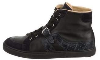 Hermes Quantum Alligator-Trimmed Sneakers