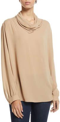 The Row Runa Cowl-Neck Long-Sleeve Silk Top