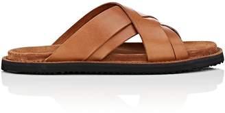 Buttero Men's Crisscross-Strap Leather Slide Sandals