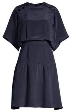 Derek Lam Women's Short-Sleeve Silk Ruffle Hem Dress - Navy - Size 36 (0)