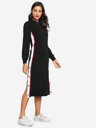 Shein Striped Tape Half Placket Midi Dress