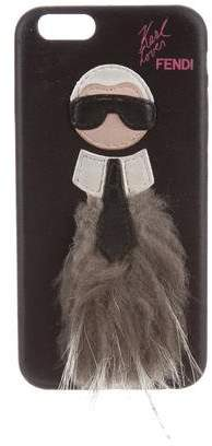 Fendi Karlito Fur-Trimmed iPhone Case