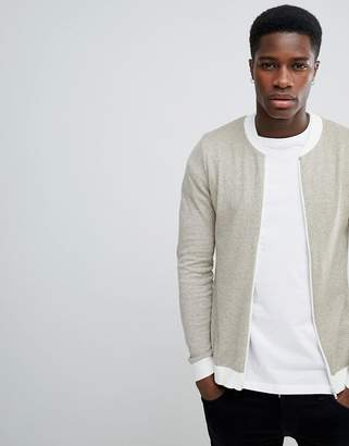 Asos DESIGN Muscle Fit Knitted Bomber Jacket In Oatmeal Twist