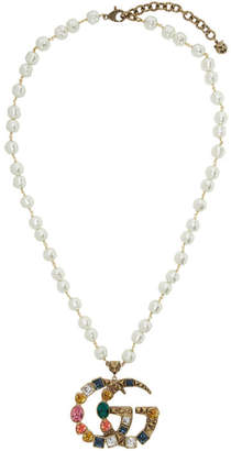 Gold Crystal Pearl GG Pendant Necklace