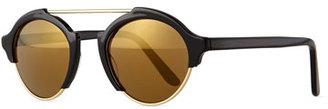 Illesteva Milan IV Round Sunglasses, Black $300 thestylecure.com