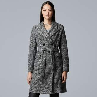 Vera Wang Women's Simply Vera Marled Double-Breasted Trench Coat