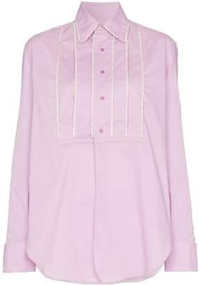 Area embellished tucks tailored shirt