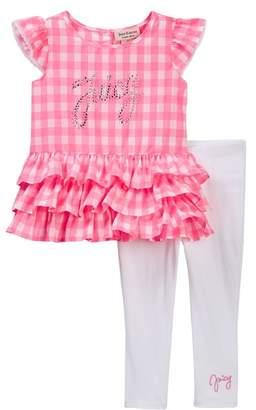 Juicy Couture Gingham Ruffle Bottom Tunic & Legging Set (Baby Girls 12-24M)