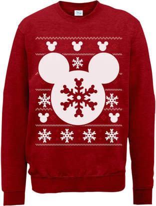 Disney Mickey Mouse Christmas Snowflake Silhouette Red Christmas Sweatshirt