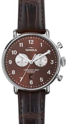Shinola Men's 43mm Canfield Men's Chronograph Watch, Bourbon Brown