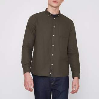 River Island Mens Khaki green long sleeve Oxford shirt