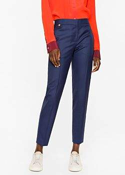 Paul Smith A Suit to Travel In - Women's Classic-Fit Navy Puppytooth Wool Trousers