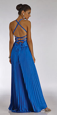Dave and Johnny Glimmering Sapphire Rhinestone Studded Pleated Dresses