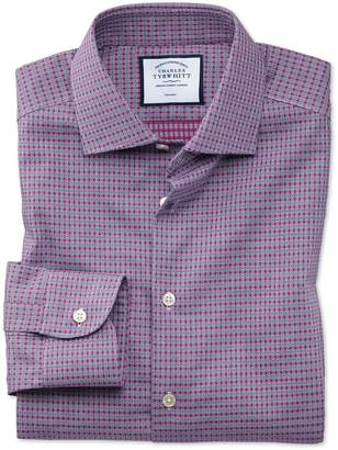 Charles Tyrwhitt Extra Slim Fit Business Casual Non-Iron Pink and Navy Square Dobby Cotton Dress Shirt Single Cuff Size 15/34