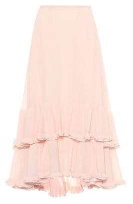 Chloé Plissé cotton and silk skirt