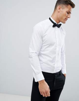 French Connection Wing Collar Wedding Dress Shirt With Double Cuff