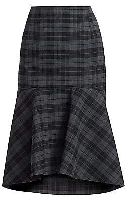 Balenciaga Women's Godet Stretch-Wool Plaid Peplum Skirt