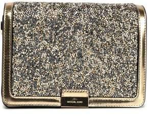 MICHAEL Michael Kors Glittered Metallic Gold-Leather Shoulder Bag