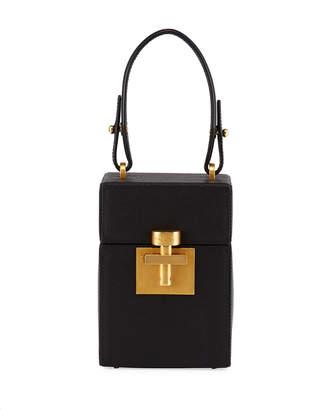Oscar de la Renta Alibi Box Leather Top-Handle Bag