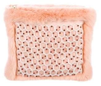 Shrimps Embellished Faux Fur Honey Clutch