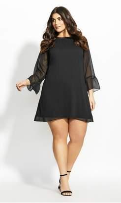 City Chic Softly Smocked Dress - black