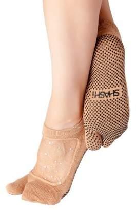 Shashi Glitter Mesh Non Slip Split Toe Ergonomic Sock Pilates Barre Yoga