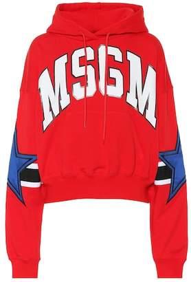 MSGM Logo-printed cotton hoodie