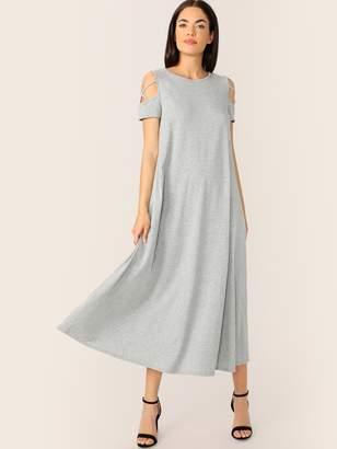 Shein Cold Shoulder Criss-cross Detail T-shirt Dress