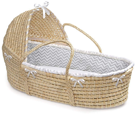 Gray Chevron Moses Hooded Basket
