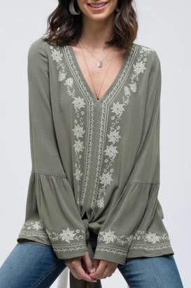 Blu Pepper Embroidered Tie-Front Top