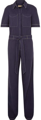 Burberry Belted Cotton And Linen-blend Jumpsuit - Indigo
