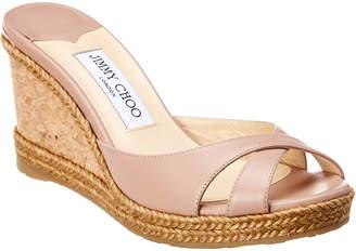 Jimmy Choo Almer 80 Leather Wedge Sandal