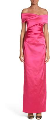 Talbot Runhof Stretch Satin Off the Shoulder Column Gown