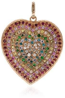 Carolina Bucci Rainbow Pavé Heart Pendant