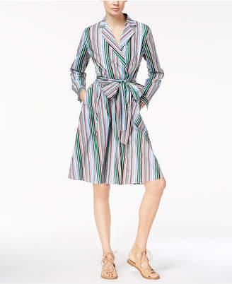 Marella Cotton Stretch Poplin Tab-Sleeve Faux-Wrap Midi Shirtdress