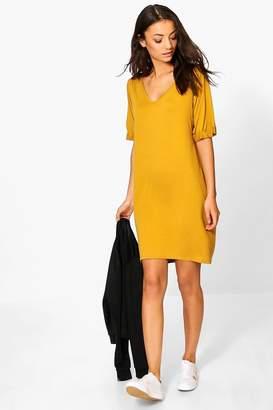 boohoo Tall Leanne Turn Cuff Oversized T-Shirt Dress $20 thestylecure.com