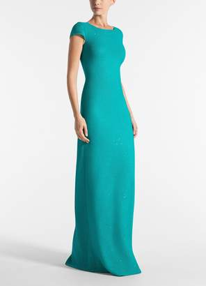 St. John Links Sequin Knit Cap Sleeve Gown