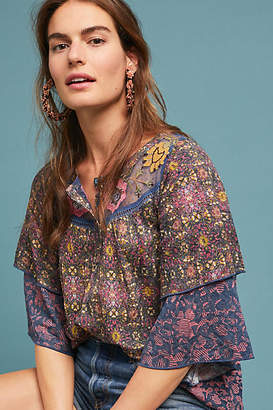 Anthropologie Ciutadella Embroidered Top
