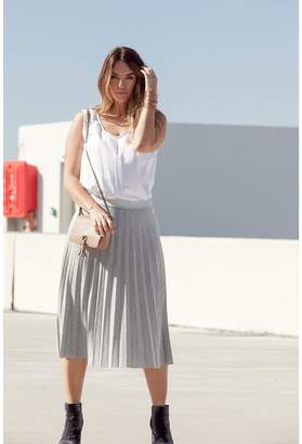 Ulla Popken Plain Pleated Midi Skirt