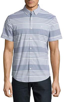 Original Penguin Slim Fit Stretch Striped Short Sleeve Sport Shirt