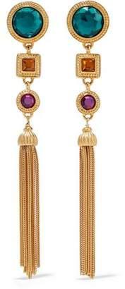 Ben-Amun Gold-Plated Crystal Tassel Earrings